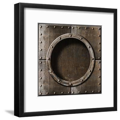 Armored Metal Porthole Background-Andrey_Kuzmin-Framed Art Print