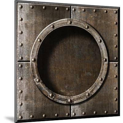 Armored Metal Porthole Background-Andrey_Kuzmin-Mounted Art Print