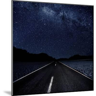 Highway And Starry Night In Desert--Mounted Art Print