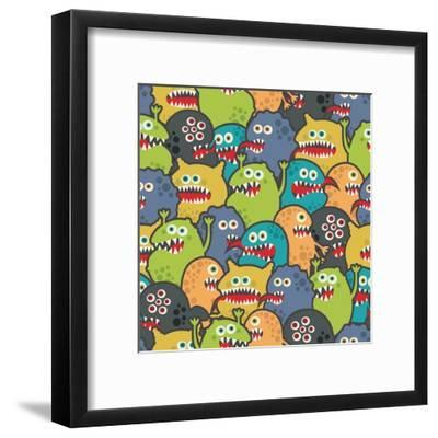 Cute Monsters Seamless Texture-panova-Framed Art Print
