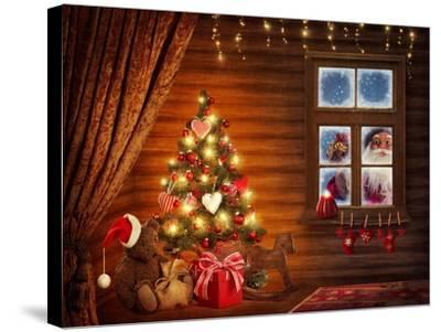Room With Christmas Tree-egal-Stretched Canvas Print