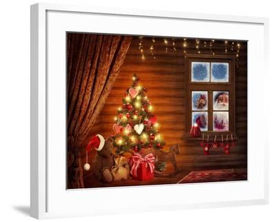 Room With Christmas Tree-egal-Framed Art Print