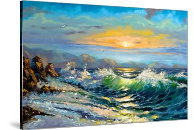 The Storm Sea On A Decline-balaikin2009-Stretched Canvas Print