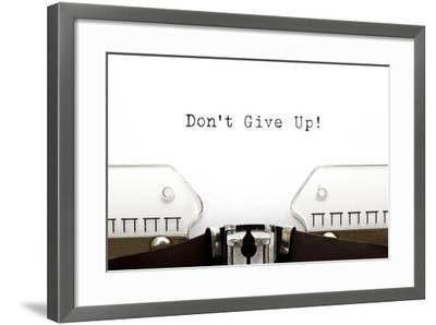 Typewriter Do Not Give Up-Ivelin Radkov-Framed Art Print