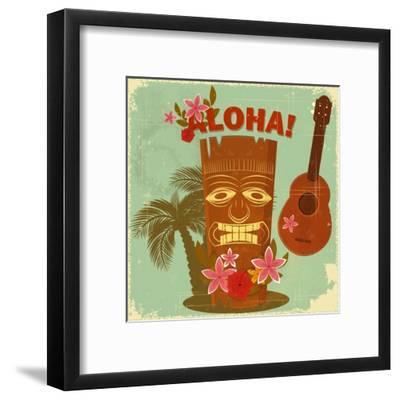 Vintage Hawaiian Postcard-elfivetrov-Framed Art Print