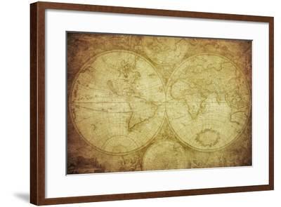 Vintage Map Of The World-javarman-Framed Art Print