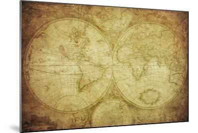 Vintage Map Of The World-javarman-Mounted Art Print
