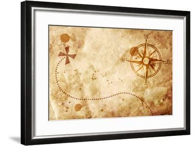 Old Map With A Compass On It-molodec-Framed Art Print