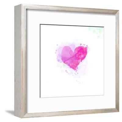 Painted Watercolor Heart-lozas-Framed Art Print