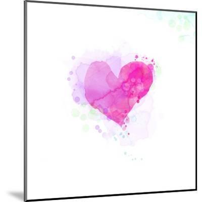 Painted Watercolor Heart-lozas-Mounted Art Print