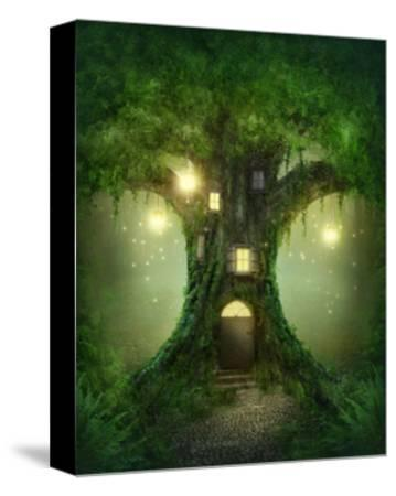 Fantasy Tree House-egal-Stretched Canvas Print