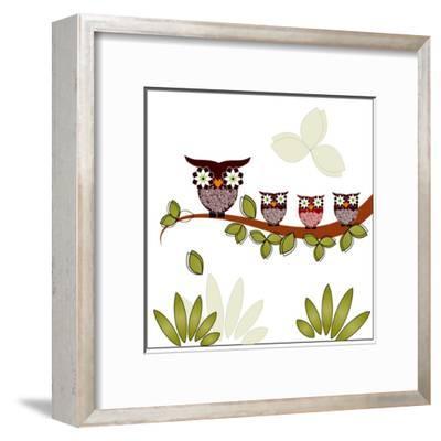 Owl On A Branch-Debra Hughes-Framed Art Print