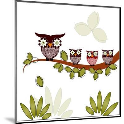Owl On A Branch-Debra Hughes-Mounted Art Print