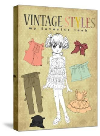 Cute Vintage Girl-studiohome-Stretched Canvas Print