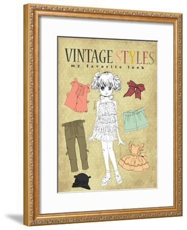 Cute Vintage Girl-studiohome-Framed Art Print
