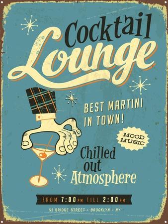 Vintage Design -  Cocktail Lounge-Real Callahan-Framed Art Print