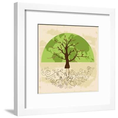 Tree World Concept-cienpies-Framed Art Print