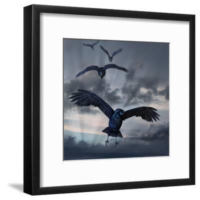 Crows Flying-AlienCat-Framed Art Print