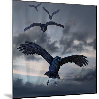 Crows Flying-AlienCat-Mounted Art Print
