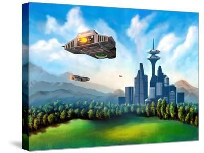 Futuristic City-Thufir-Stretched Canvas Print