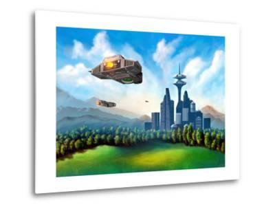 Futuristic City-Thufir-Metal Print