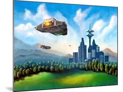 Futuristic City-Thufir-Mounted Art Print