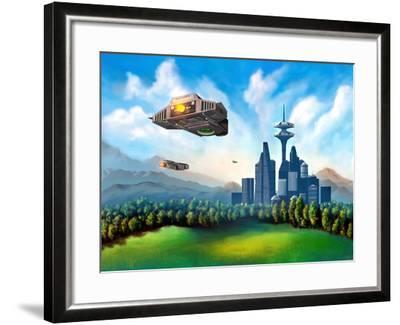 Futuristic City-Thufir-Framed Art Print