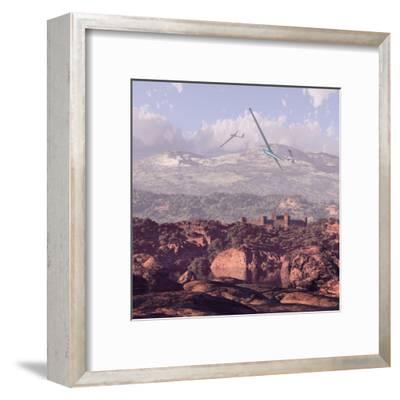 Sailplanes And Castle-Designwest-Framed Art Print