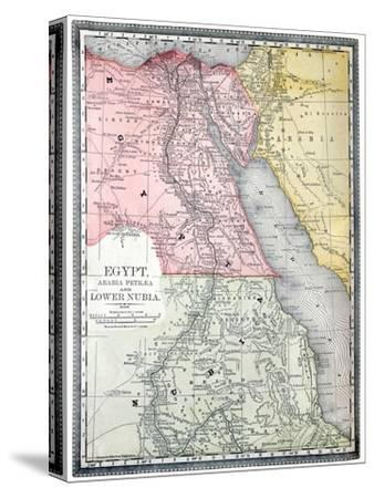 Old Map Of Egypt-Tektite-Stretched Canvas Print