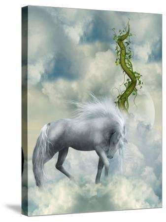 Fantasy White Horse-justdd-Stretched Canvas Print