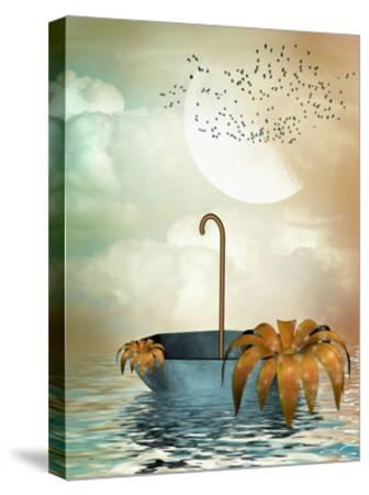 Umbrella In The Ocean-justdd-Stretched Canvas Print