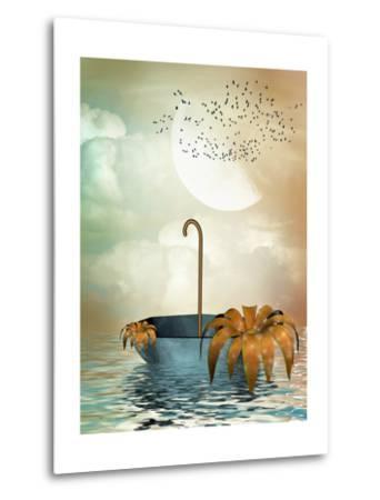 Umbrella In The Ocean-justdd-Metal Print