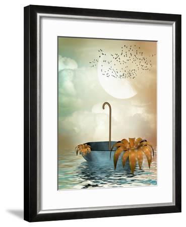 Umbrella In The Ocean-justdd-Framed Art Print