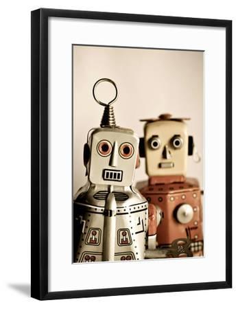 Two Retro Robot Toys-davinci-Framed Art Print