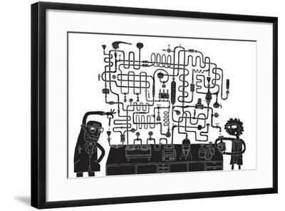 Laboratory Maze Game-vook-Framed Art Print