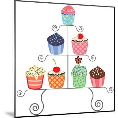 Cupcakes On A Stand-dmstudio-Mounted Art Print