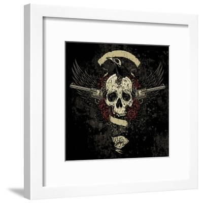Raven Skull Collage- vectorbomb-Framed Art Print