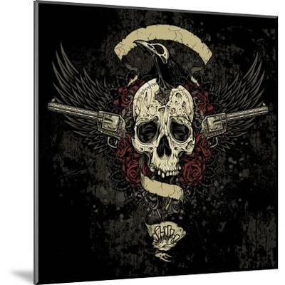 Raven Skull Collage- vectorbomb-Mounted Art Print