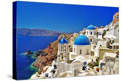 Amazing Santorini - Travel In Greek Islands Series-Maugli-l-Stretched Canvas Print