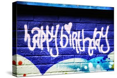 Happy Brithday In Graffiti-sammyc-Stretched Canvas Print