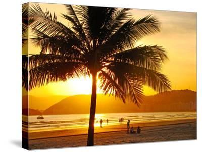 Beautiful Golden Sunset On The Beach Of The City Of Santos In Brazil-fabio fersa-Stretched Canvas Print