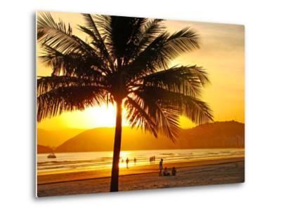 Beautiful Golden Sunset On The Beach Of The City Of Santos In Brazil-fabio fersa-Metal Print