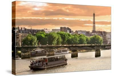 Cruise Ship On The Seine River In Paris, France-rglinsky-Stretched Canvas Print