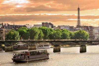 Cruise Ship On The Seine River In Paris, France-rglinsky-Premium Giclee Print