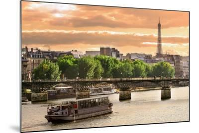 Cruise Ship On The Seine River In Paris, France-rglinsky-Mounted Art Print