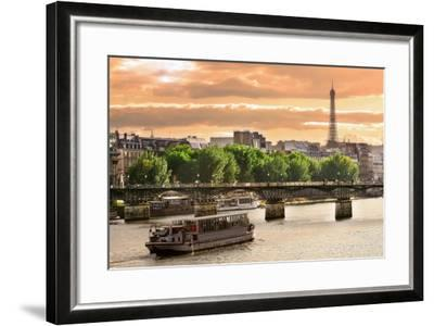 Cruise Ship On The Seine River In Paris, France-rglinsky-Framed Art Print