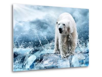 White Polar Bear Hunter On The Ice In Water Drops-yuran-78-Metal Print