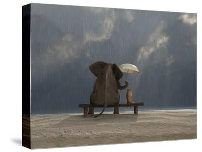 Elephant And Dog Sit Under The Rain-Mike_Kiev-Stretched Canvas Print
