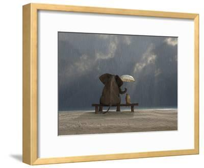 Elephant And Dog Sit Under The Rain-Mike_Kiev-Framed Premium Photographic Print