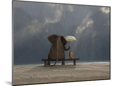 Elephant And Dog Sit Under The Rain-Mike_Kiev-Mounted Premium Photographic Print